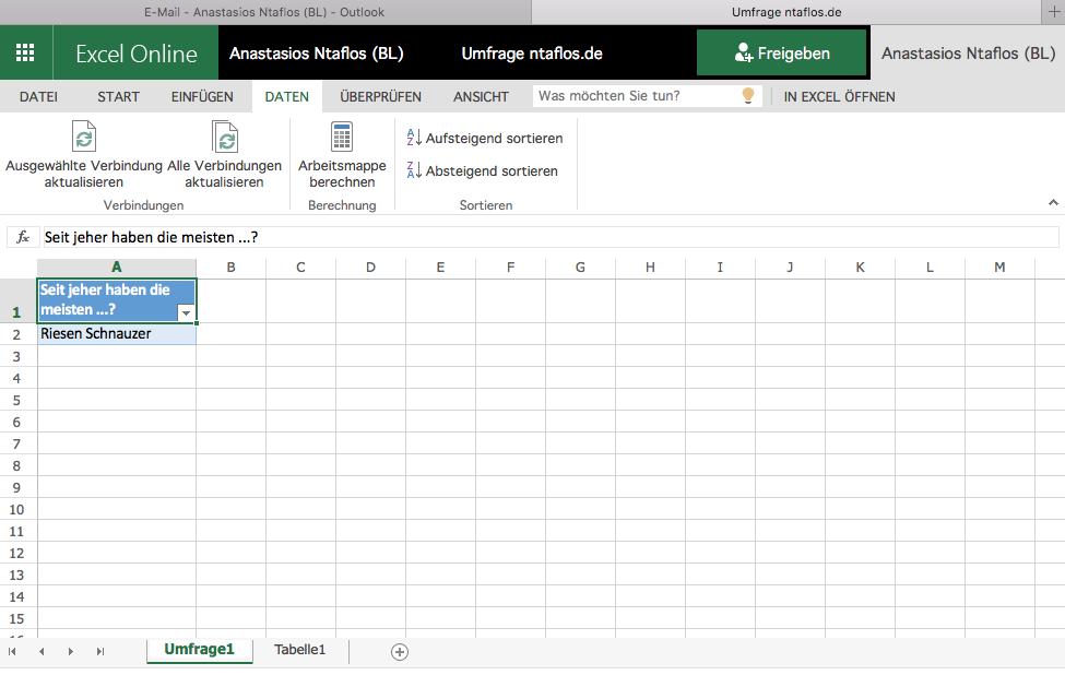 Erstellen von Umfragen in der Excel Web App (Office 365)